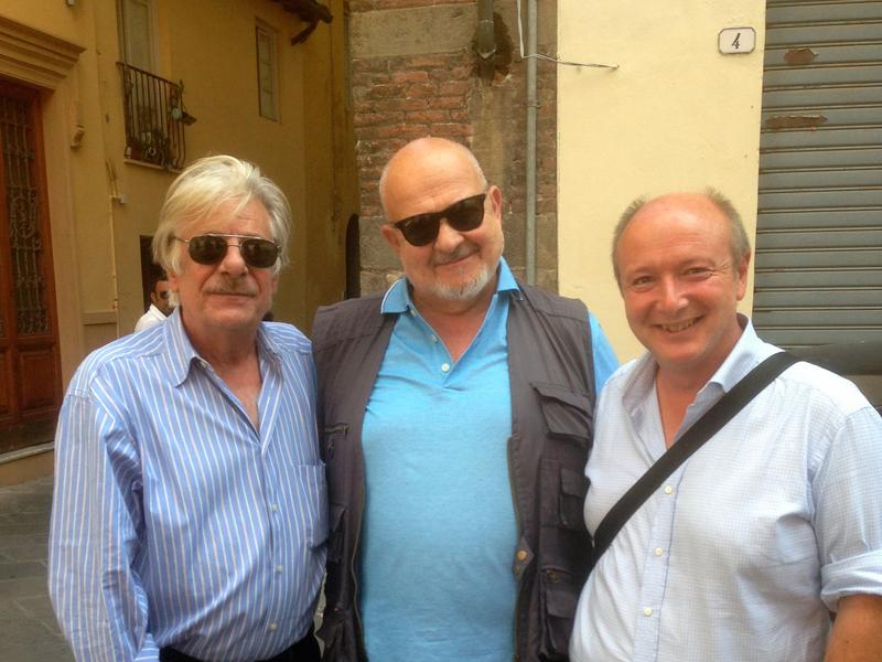 Gabriele con l'attore Giancarlo Giannini e lo storico Franco Cardini