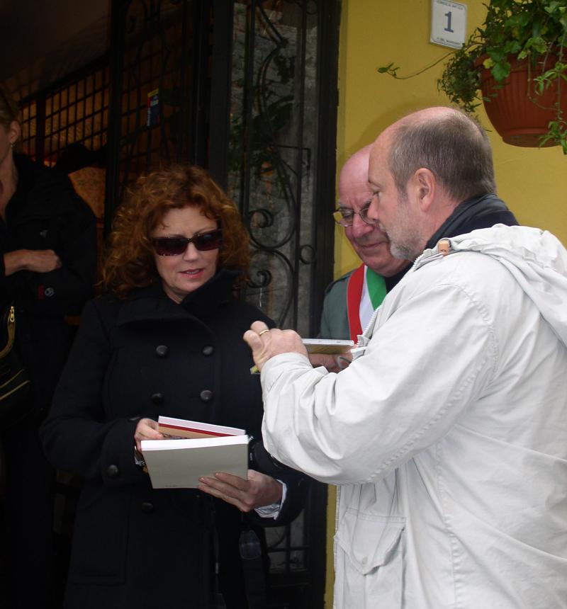 Gabriele con l'attrice Susan Sarandon